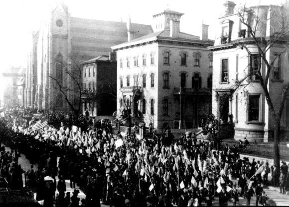 View of Lucas Place during a parade in 1895.